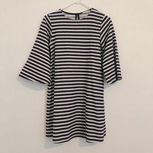 Zara 3/4 sleeve navy & white striped mini dress S